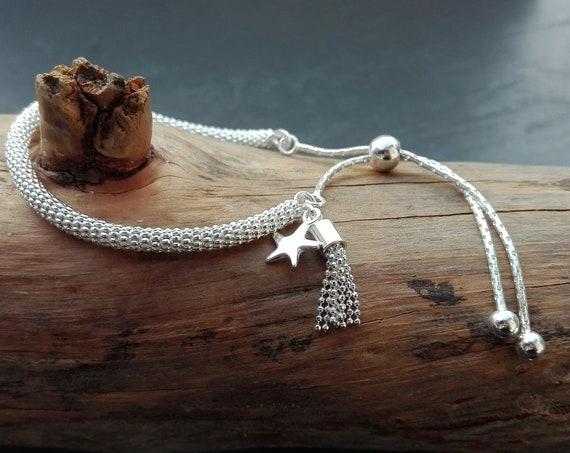 Women's bracelet boho silver 925, bracelet pompom - Boho Jewelry - Women's Jewelry - Gift for her