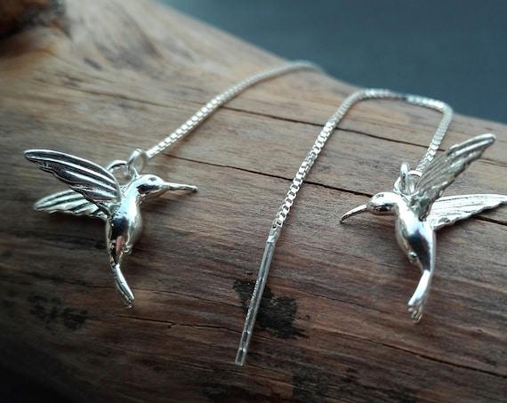 Chain earrings through silver hummingbird 925/1000 - Boho Jewelry - Women's Jewelry - Gift for her