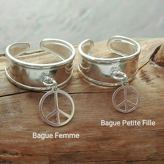 Bijoux Duo Mère Fille - lot de 2 Bagues Peace argent 925  - Bijoux Bohème