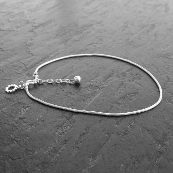 Chaîne de cheville maille serpent argent 925 - pampille soleil -  chaîne de pied boho - Bijoux Bohème - idée cadeau femme
