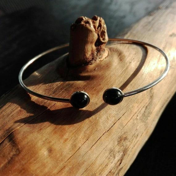 Bracelet jonc fin flexible argent 925 et Onyx - Bijoux Bohème - idée cadeau femme