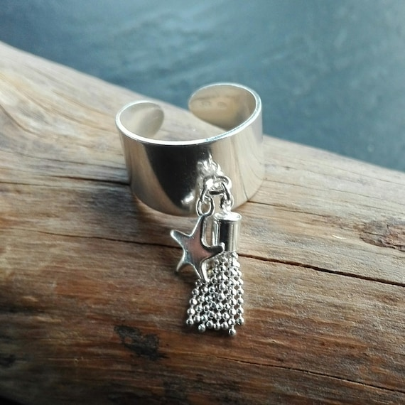 925 silver boho ring, pompom and star ring - Boho Jewelry - Women's Jewelry - Gift for her