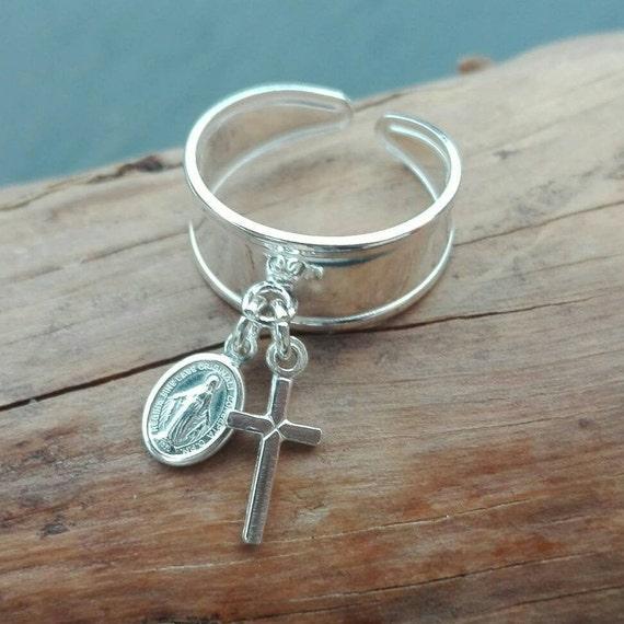 Maria gypsy ring, Christian silver ring 925 - boho stamp ring - Boho Jewelry