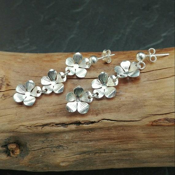 Bohemian earrings - Silver flower pendants 925/1000 - Boho Jewelry - Women's Jewelry - Gift for her