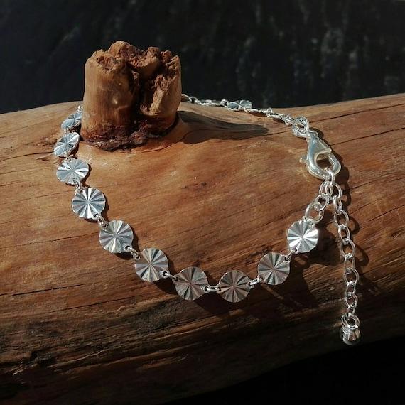 Bracelet ajustable maille soleil argent 925 - Bijoux Bohème