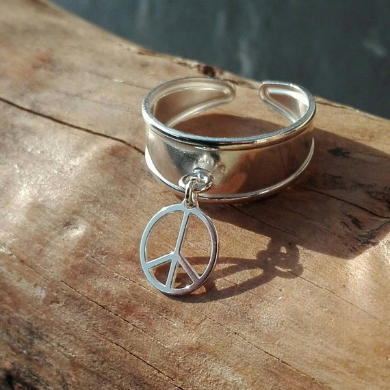 Peace Ring, Female Silver Hippie Ring 925 - Boho Jewelry - Women's Jewelry - Gift for Her - Boho inspired