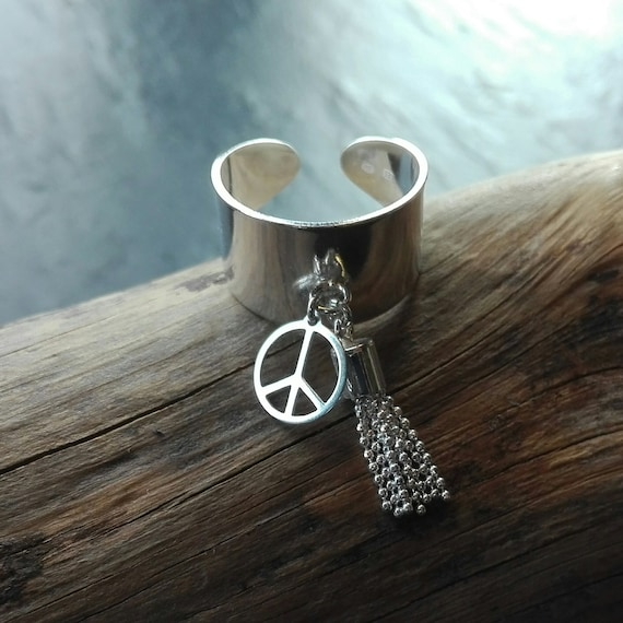 925 silver hippie ring - peace ring - Boho Jewelry - Women's Jewelry - Gift for her -Boho inspired