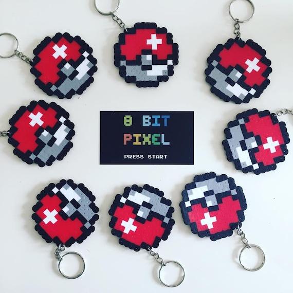 Pokeball Pokemon Keychain Keyring 8bit Pixel Geek Etsy