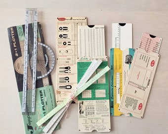 Vintage plotter, rulers, and measuring lot - Vintage Office Supplies