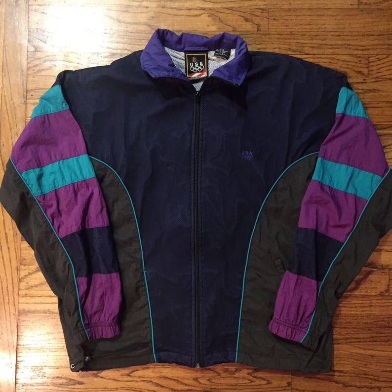 Vintage USA Olympics jacket windbreaker net crazy patched aqua colorway Medium nike adidas