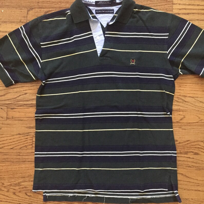 34df43aa Vintage Tommy Hilfiger striped collar polo shirt forest green | Etsy