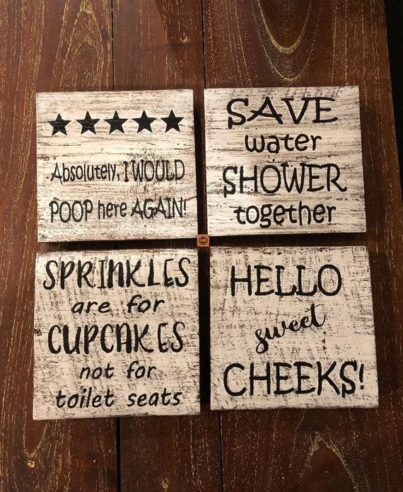 Funny Wooden Bathroom Signs O Sweet, Wooden Bathroom Signs