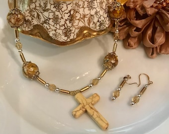 Howlite Cross Necklace with Earrings, both with Mother of Pearl Beads, Brass Capsules and Amber Glass