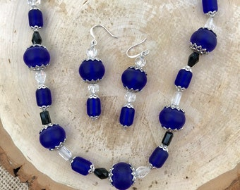 "Cobalt Blue ""Sea Glass"" Necklace and Earring Set with Deep Cobalt Crystals and Caps"