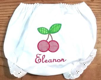 Cherry Diaper Cover / Cherry Bloomers / Cherry Baby Bloomers / Embroidered Bloomers / Baby Bloomers with Cherries
