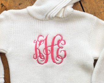 Zip Back Monogrammed Sweater / Initial Sweater / Hooded Baby Sweater with Zipper in Back / Personalized Sweater / Embroidered Sweater