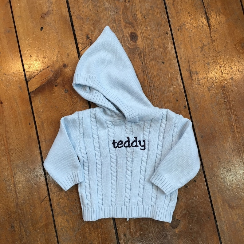 Personalized Name Sweater / Hooded Baby Sweater with Zipper in image 0