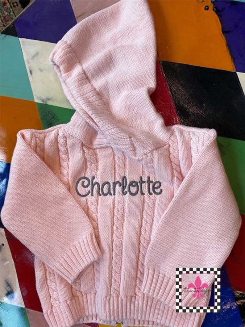 Zip Back Personalized Name Sweater / Hooded Baby Sweater with image 1