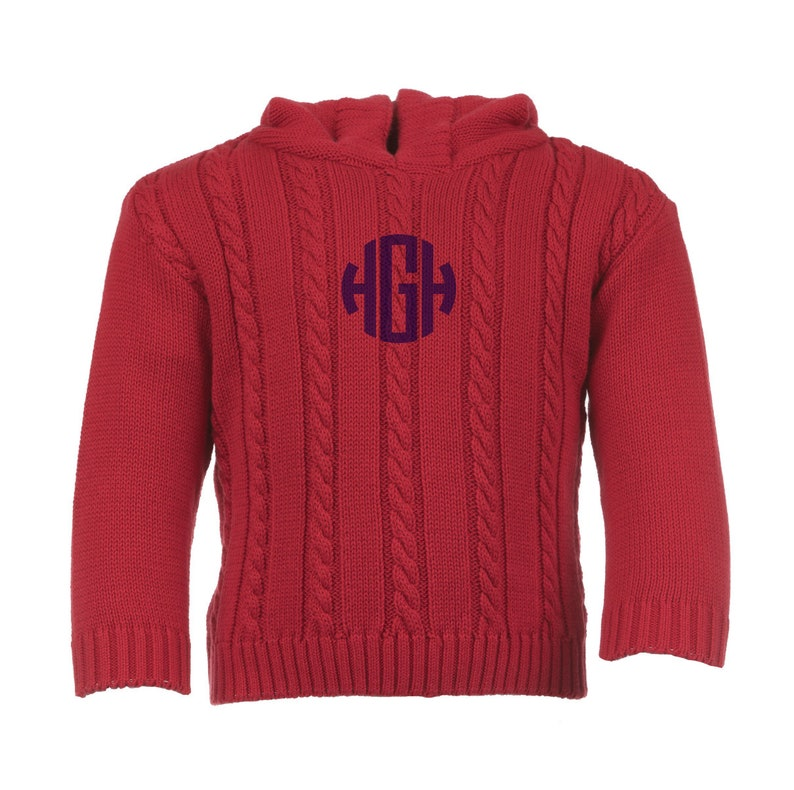 1b483d963 Red Cable knit Monogrammed Sweater / Initial Sweater / Hooded | Etsy