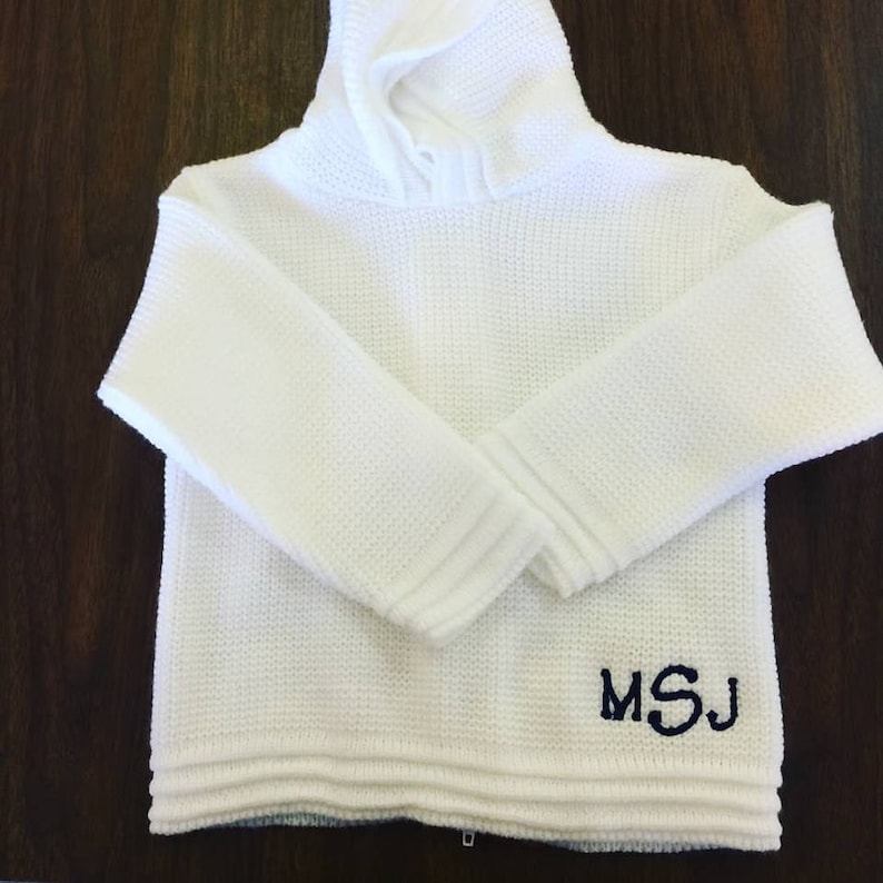 ab4df1f76 Hooded Baby Sweater with Zipper in Back / Personalized Sweater | Etsy