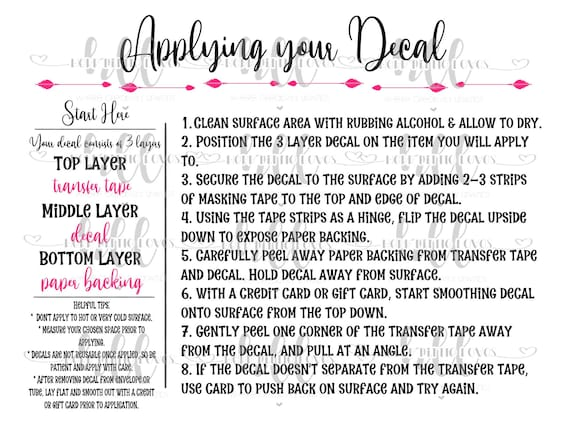 It is a picture of Decal Application Instructions Printable in wash