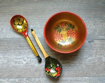Khokhloma bowl and spoons / Russian bowl and spoons / USSR bowl and spoons / Russian folk decor / Made in USSR
