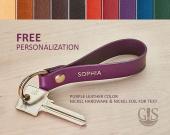 Custom Personalized Leather Keychain, Personalized Gift, Keychain Gift, Personalized Gift for Women, Custom Initial Keychain, Gift Initial