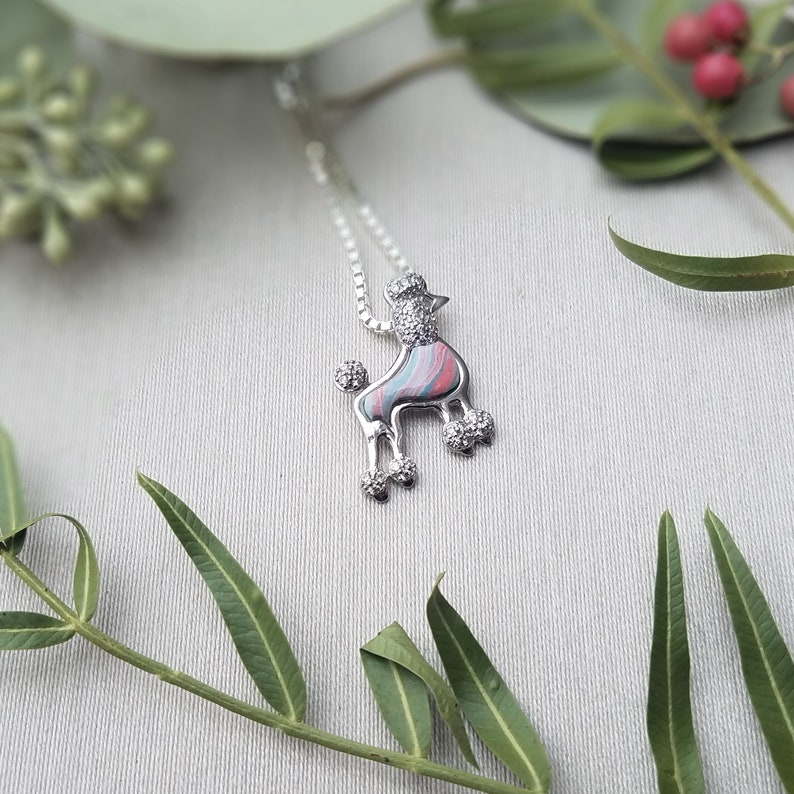 Jewelry from Meaningful Flowers or Cremains Pet Cremains Pendant CZ Poodle Pendant