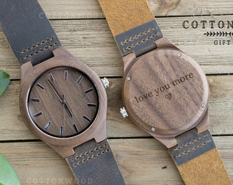 Men Wooden Watch, Wooden Watch For Men, Wooden Watch Leather, Groomsman Watches, Graduation Watch, Mens Watch Engraved, Mens Wood Gift Watch