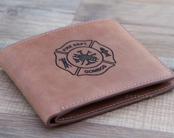 Firefighter Gift • Fireman Gift • Leather Wallet for Men • Mens Leather Wallet • Gifts for Him • Personalized Wallet • Husband Gift