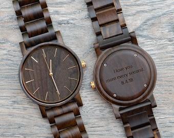 Wooden Watch, Anniversary Gifts for Boyfriend, Watches for Men, Wooden Watches for Men, Wood Watch, Mens Watch, Engraved Watch, Watch