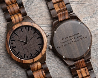 Fathers Day Gifts for Him, Mens Wooden Watch, First 1st Fathers Day Gifts, Gifts for Dad, Wife to Husband Gift, Wood Watch, Dad Gift, Father