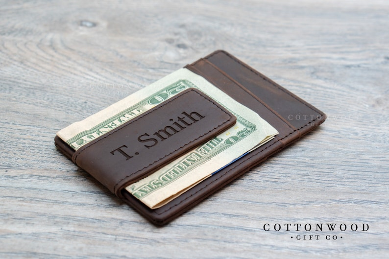 acbd27fb79c7 Personalized Mens Money Clip Wallet Engraved Leather Money