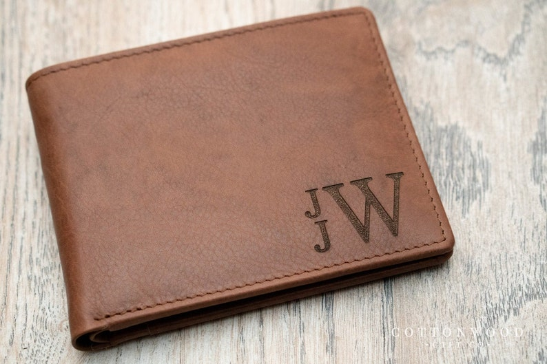 Monogrammed Leather Wallet Mens Personalized Wallet image 0
