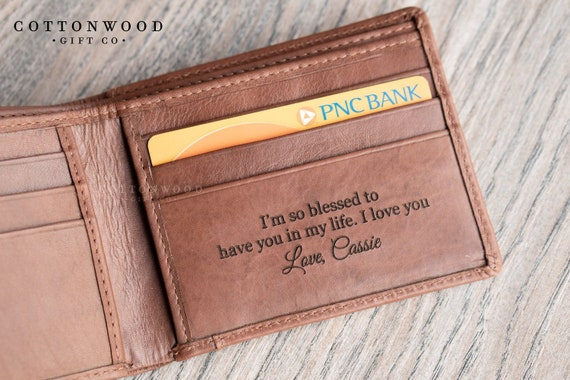 1st Anniversary gift for Husband Boyfriend Anniversary Mens Custom Leather wallet Long Wallet with Chain Personalized wallet for Men