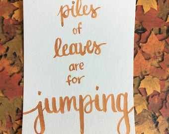 """Fall/Autumn Wall Art Decor """"Piles of Leaves"""" Dorm Wall Decor-Bedroom Decor-Cheap Gifts For Her Mom Sister Friend-Watercolor Brush Lettering"""