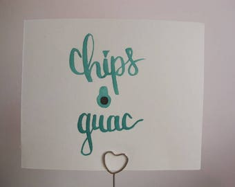 """Wall Art Decor """"Chips & Guac"""" - Dorm Decor - Bedroom Decor - Cheap Gifts For Her Mom Sister Friend Aunt - Watercolor Brush Lettering"""