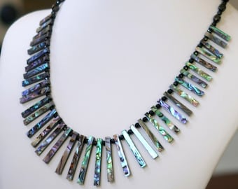Paua Shell Necklace with Faceted Black Onyx and Black Spinel Beads (A+ Quality)