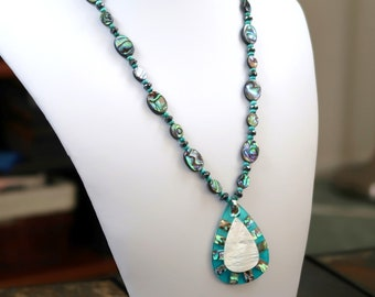 Paua Shell Necklace with Natural Turquoise and Paua/Mother-of-Pearl Shell Pendant