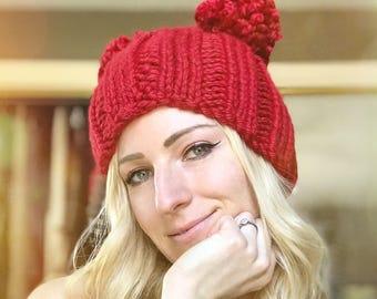 Red Double Pom Pom Hat, Bobble Hat, Two Pom Beanie, Knit Double Pom Pom Beanie, Red Knit Hat, Knit Beanie, Winter Hat, Ladies Knit Cap