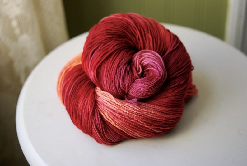 100% Merino 4-ply Hand Dyed Yarn  Light My Fire image 0
