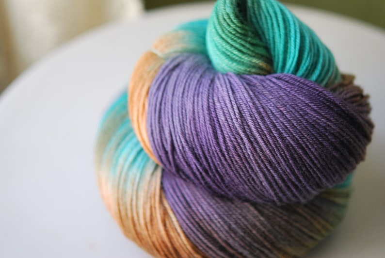 Hand Dyed  Yarn  Rain Forest image 0
