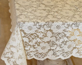 Merveilleux 72x72 Inch Ivory Floral Lace Square Tablecloth Overlay Vintage Inspired  Table Cover Crochet Tablecloth Lace Tablecloths Wedding