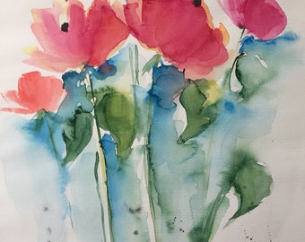 Original watercolor watercolor painting image art Meadow flowers abstract painting