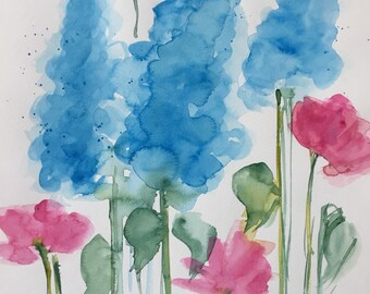 Original watercolor watercolor painting image meadow flowers Watercolor flowers