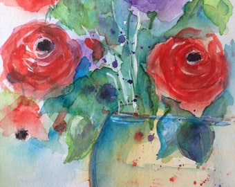 AQUARELLE originale art aquarelle bouquet fleurs aquarelle