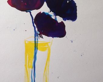 Original Watercolor Acrylic Watercolour art art flower painting Watercolor flowers Mixed media
