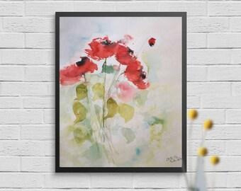 Original watercolor watercolor Painting flowers Watercolor
