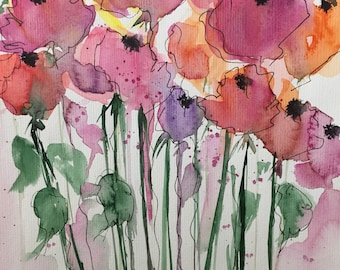 Original watercolor watercolor painting image meadow Flowers abstract floral art Watercolor abstract painting