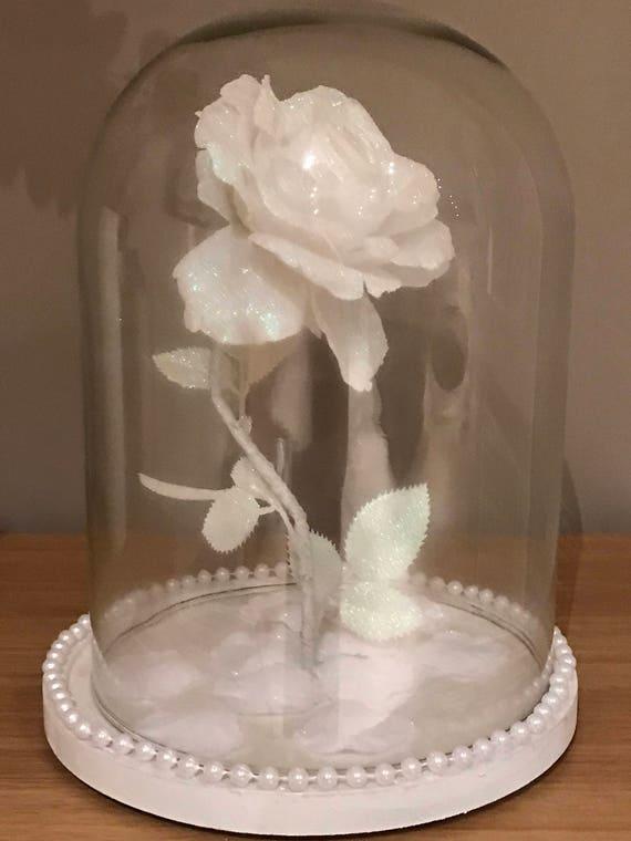 Verzauberte Rose Kuppel Licht Weiss Glas Licht Schillernde Etsy